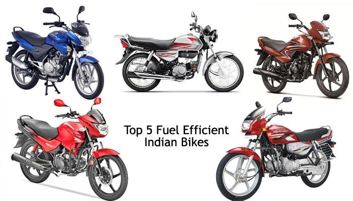 top 5 fuel efficient Indian bikes